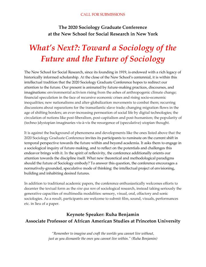 CfP_2020_NSSR_Sociology_Graduate_Conference